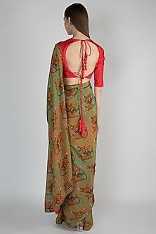 Dark Beige & Mint Green Printed Saree Set by Masaba