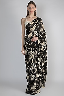 Black & Ivory Digital Printed Saree Set by Masaba