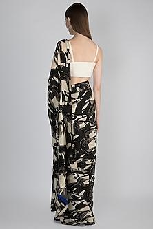 Black & Ivory Digital Printed Saree Set by Masaba
