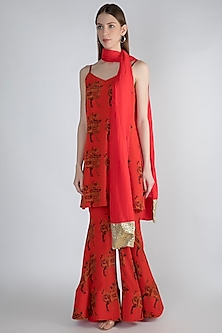 Red Digital Printed Sharara Set by Masaba