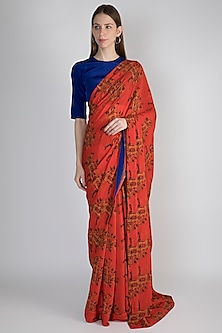 Red & Blue Troop Printed Saree Set by Masaba