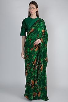 Emerald Green Jungle Printed Saree Set by Masaba