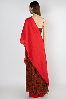 Red Embroidered Tunic With Cape by Masaba