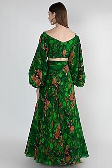 Emerald Green Printed Lehenga Set by Masaba