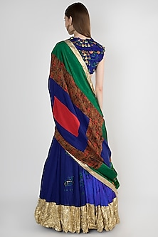 Blue Embroidered Lehenga Set by Masaba