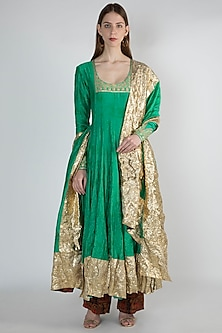 Green Ombre Embroidered Printed Anarkali With Dupatta by Masaba