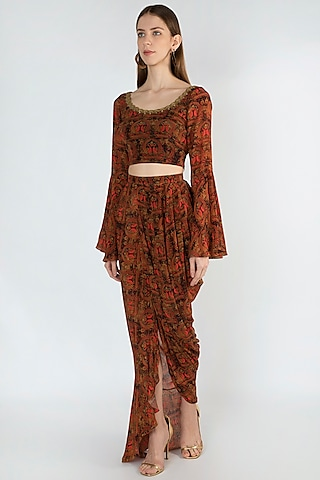 Brown Embroidered Printed Crop Top & Skirt by Masaba
