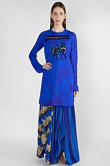 Blue Embroidered Tunic With Skirt by Masaba