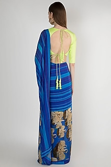 Blue Digital Printed Saree Set by Masaba