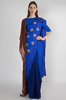 Blue Embroidered Printed Saree Set by Masaba