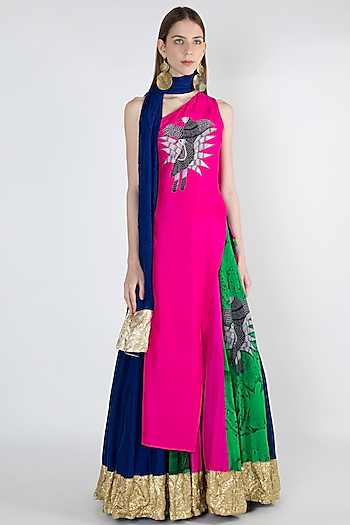 Pink Embellished Printed Lehenga Set by Masaba