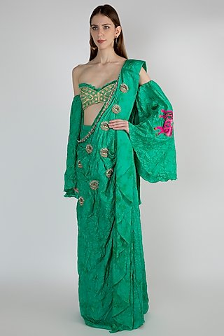 Green Ombre Embroidered Saree Set by Masaba
