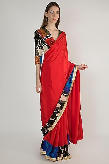 Red Embellished Saree Set by Masaba