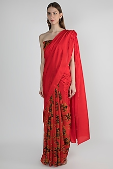 Red Embroidered Printed Saree Set by Masaba