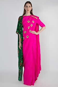 Pink Embroidered Printed Saree Set by Masaba