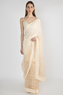 Ivory Embroidered Printed Saree Set by Masaba