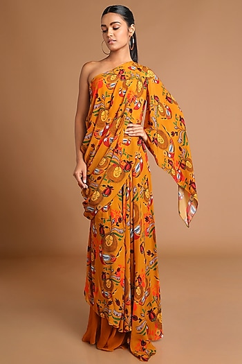 Mustard Printed Draped Top With Skirt by Masaba