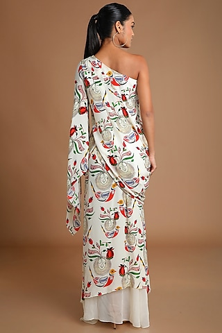 Ivory Printed Draped Top With Skirt by Masaba
