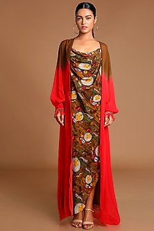 Brown & Red Printed Dress With Ombre Cape by Masaba