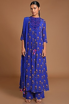 Blue Embroidered & Printed Kurta Set by Masaba