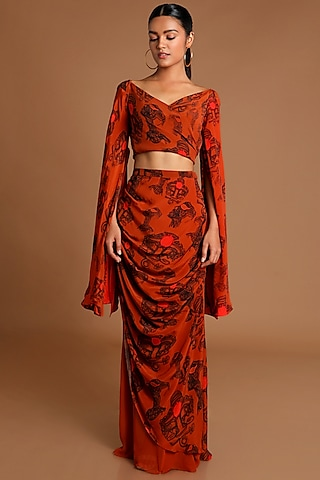 Brown Printed Wrap Top With Draped Skirt by Masaba