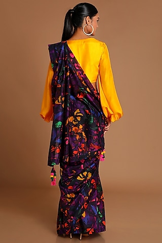 Purple Printed Saree Set by Masaba