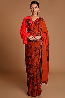 Red & Brown Printed Saree Set by Masaba