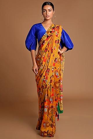 Mustard & Electric Blue Printed Saree Set by Masaba