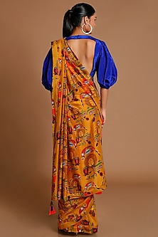 Mustard & Electric Blue Printed Saree Set by Masaba