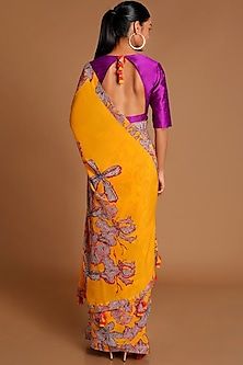 Yellow & Purple Printed Saree Set by Masaba
