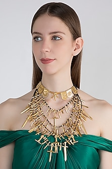 Gold Finish Game Of Thrones Swords Layered Necklace by Masaba X GOT