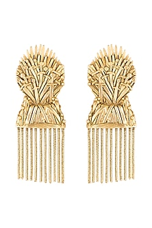 Gold Finish Iron Throne Motif Drop Earrings by Masaba X GOT