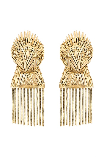 Gold Finish Iron Throne Motif Drop Earrings by Masaba X GOT