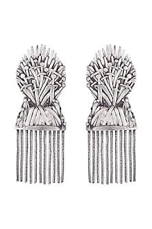 Silver Finish Iron Throne Motif Drop Earrings by Masaba X GOT