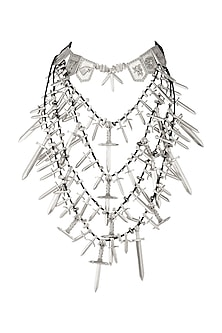 Silver Finish Game Of Thrones Swords Layered Necklace by Masaba X GOT