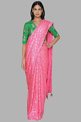 Candy Pink & Green Saree Set by Masaba