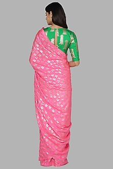 Candy Pink & Green Saree Set by Masaba