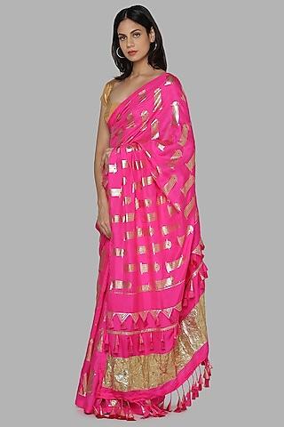 Hot Pink & Beige Printed Saree Set by Masaba