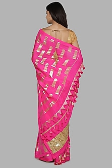 Hot Pink & Beige Printed Saree Set by Masaba