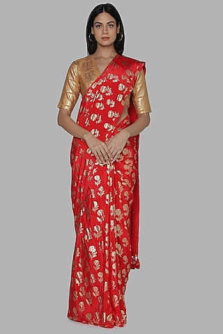 Red & Biege Printed Saree Set by Masaba