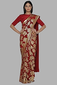 Maroon Full Moon Printed Saree Set by Masaba
