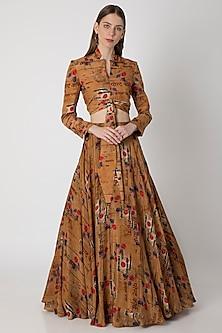 Brown Printed Lehenga Skirt With Blouse by Masaba X Rhea Kapoor