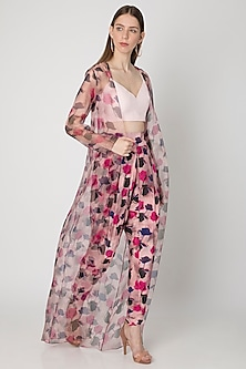 Pink Printed Dhoti Pants With Bustier & Cape by Masaba X Rhea Kapoor