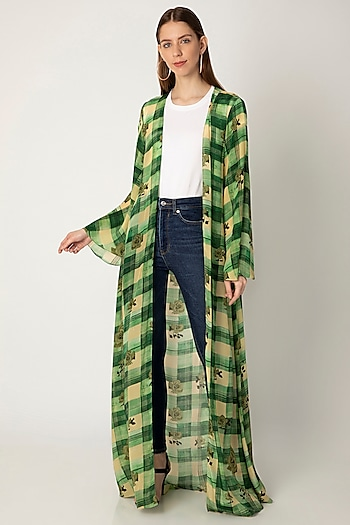 Green Printed Crepe Cape by Masaba X Rhea Kapoor