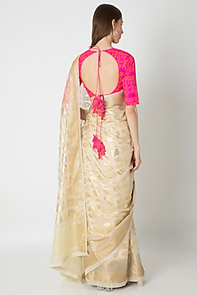 Ivory Printed Saree Set by Masaba
