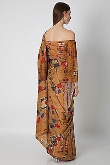 Brown Printed Habutai Silk Saree Set by Masaba X Rhea Kapoor
