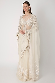 Ivory Sequins Embroidered & Printed Saree Set by Masaba X Rhea Kapoor
