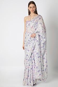 Lilac Printed Embroidered Saree Set by Masaba X Rhea Kapoor