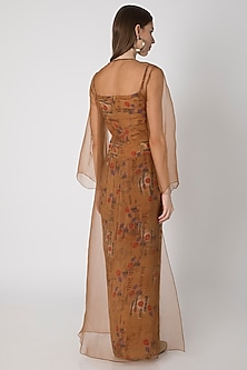 Brown Printed Top With Draped Skirt & Cape by Masaba X Rhea Kapoor