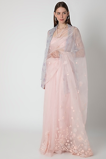 Pink Embroidered Saree Set With Lilac Printed Jacket by Masaba X Rhea Kapoor